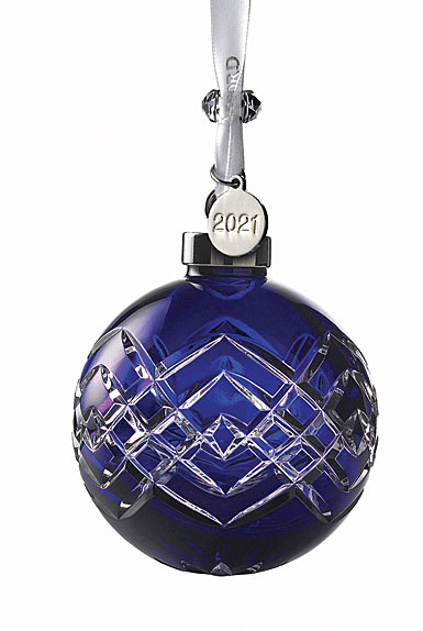 Waterford 2020 Cased Ball Ornament Sapphire