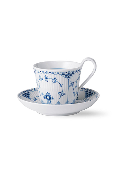 Royal Copenhagen Blue Fluted Half Lace High Handle Cup and Saucer