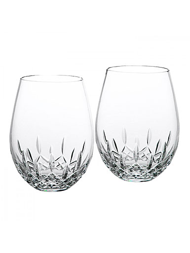 Waterford Crystal Lismore Nouveau Stemless Wine Deep Red Pair