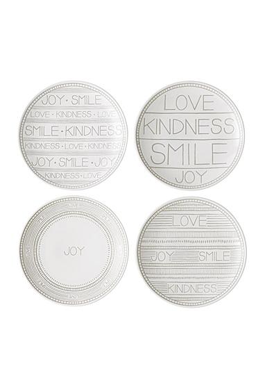 ED Ellen DeGeneres Royal Doulton Taupe Plate 6.2'' Set of 4 Mixed