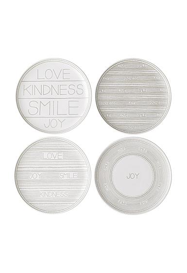 ED Ellen DeGeneres Royal Doulton Taupe Plate 8.2'' Set of 4 Mixed