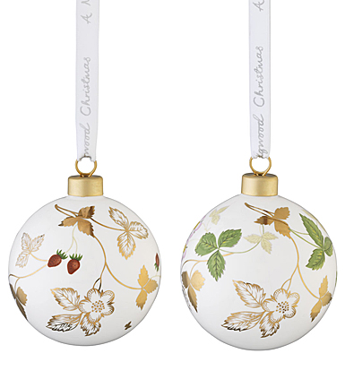 Wedgwood 2021 Wild Strawberry Bauble Ornament Pair