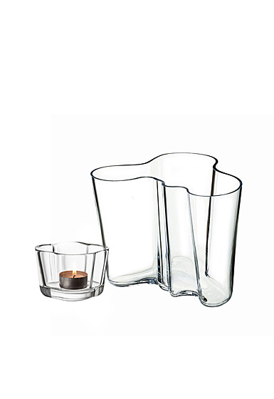 Iittala Aalto Duo Set Clear Vase And Tealight