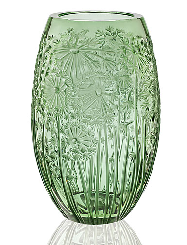 Lalique Crystal, Bucolique Crystal Vase, Green