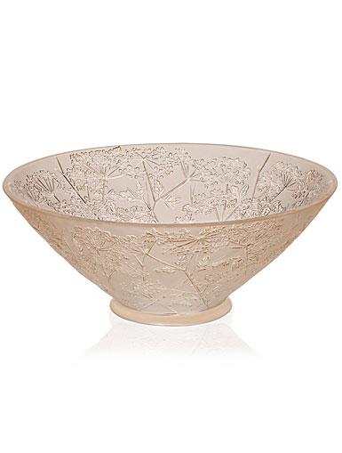 Lalique Crystal, Ombelles Crystal Bowl, Gold Luster