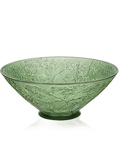 Lalique Crystal, Ombelles Crystal Bowl, Green