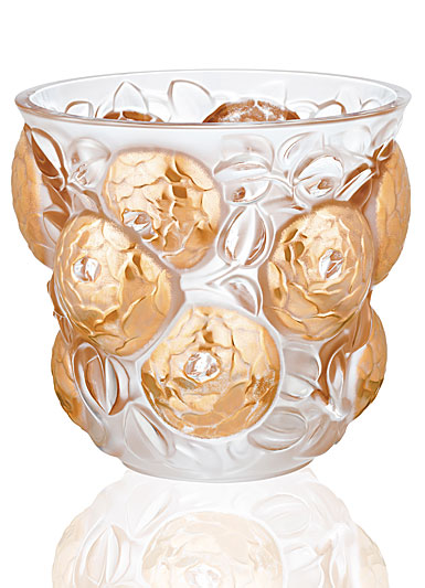 "Lalique Oran 10.75"" Vase, Clear And Gold Stamped, Limited Edition"