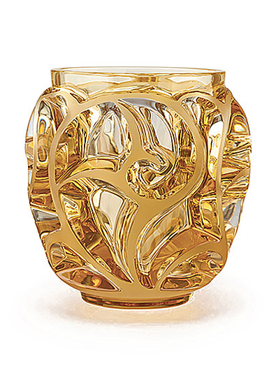 Lalique Crystal, Tourbillons Small Crystal Vase, Amber
