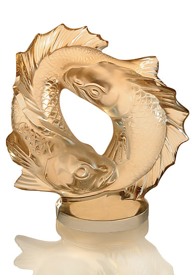 Lalique Crystal, Double Fish Sculpture, Gold Luster
