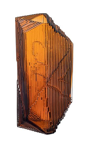 "Iittala Kartta Glass Sculpture 12.5"" Copper"