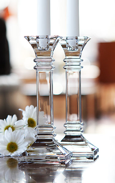 """Marquis by Waterford Crystal, Treviso 8"""" Crystal Candlesticks, Pair"""