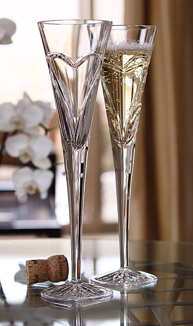 Waterford Wishes Love and Romance Heart Crystal Flutes, Pair