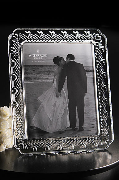 """Waterford Crystal Wedding Heirloom 8x10"""" Picture Frame"""