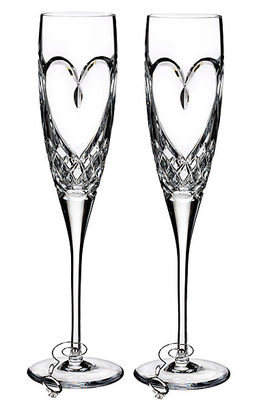 Waterford True Love Champagne Crystal Flutes, Pair