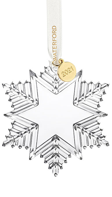 Waterford Crystal 2021 Snow Crystal Dated Ornament