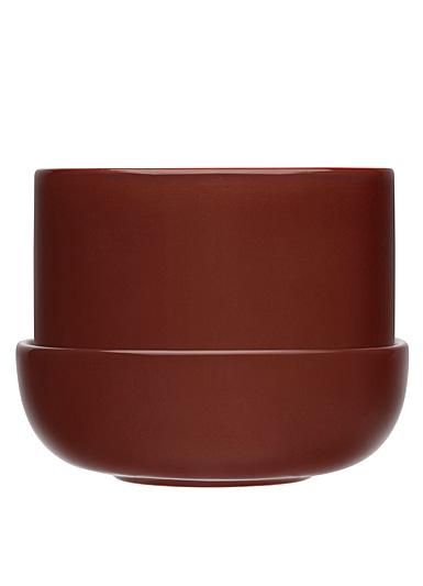 """Iittala Nappula Plant Pot W.Saucer Brown 6.75"""""""