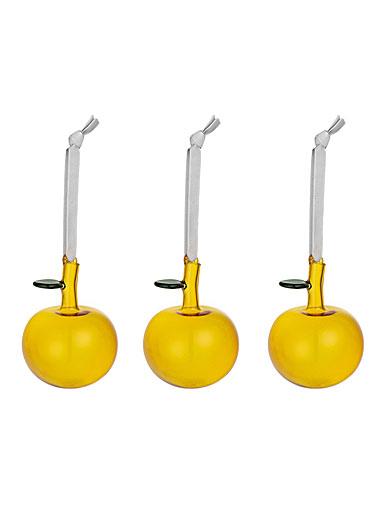 Iittala Yellow Apple Ornaments, Set of 3