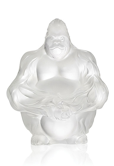 Lalique Crystal, Gorilla Sculpture, Bookend, Clear