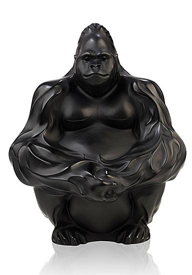 Lalique Gorilla Sculpture, Bookend, Black