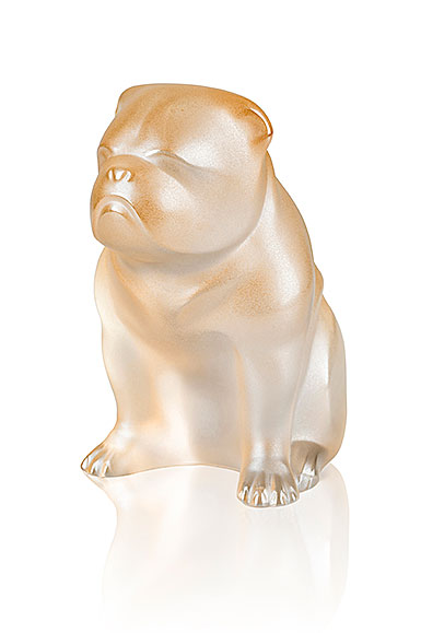 Lalique Crystal, Bulldog Sculpture, Gold Luster