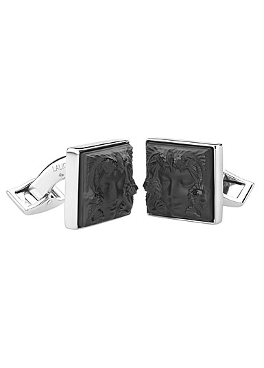 Lalique Crystal, Arethuse Crystal Cufflinks Pair, Black