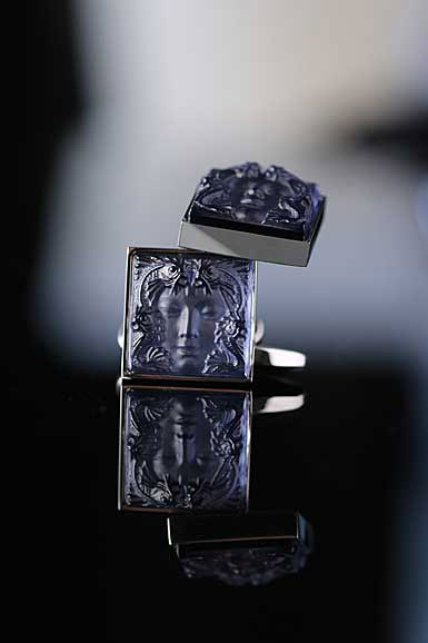 Lalique Crystal, Arethuse Cufflinks Pair, Sapphire Blue
