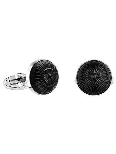 Lalique Crystal Toupie Cufflinks Pair, Black