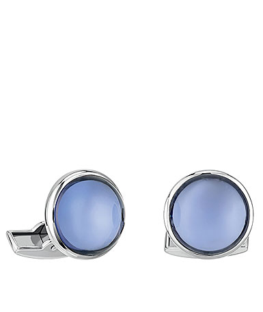Lalique Crystal Cabochon Cufflinks Pair, Sapphire Blue