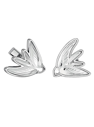 Lalique Crystal Hirondelles Cufflinks Pair, Clear