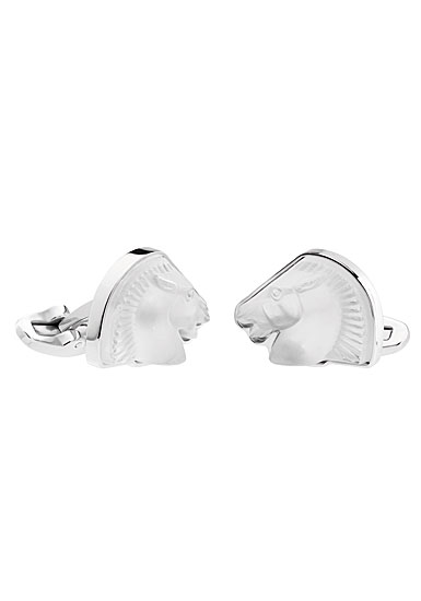 Lalique Crystal Cheval Mascottes Cufflinks Pair, Clear