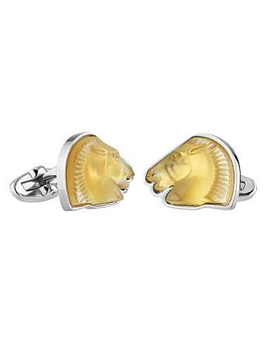 Lalique Crystal Cheval Mascottes Cufflinks Pair, Amber
