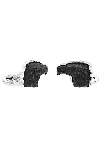 Lalique Eagle Cufflinks Pair, Black