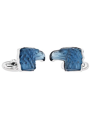 Lalique Crystal Eagle Cufflinks Pair, Sapphire Blue