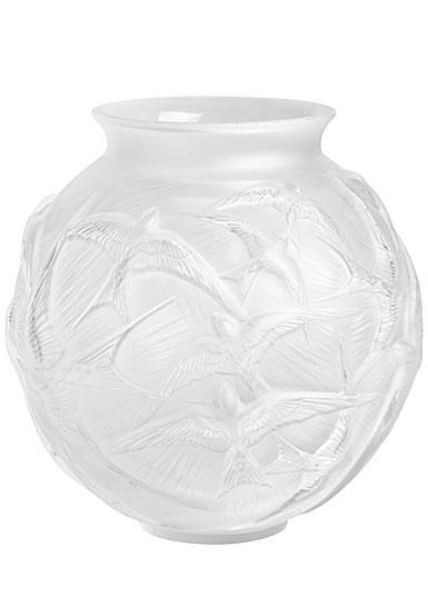 """Lalique Hirondelles 8.5"""" Round Vase, Clear"""