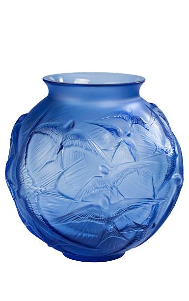 """Lalique Hirondelles 8 1/2"""" Round Vase, Sapphire Blue"""