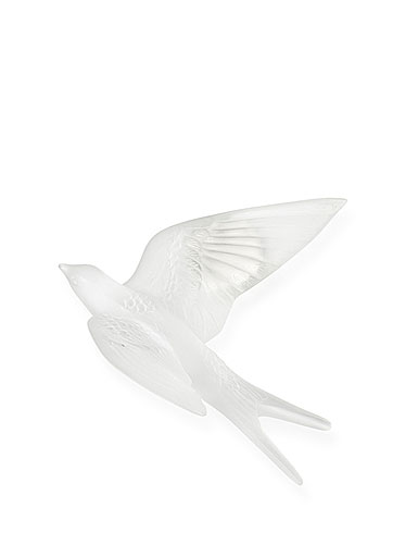 Lalique Crystal Hirondelles, Swallows with Wings Up Wall Sculpture