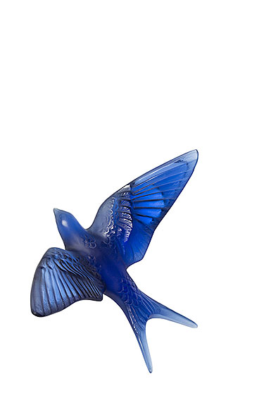Lalique Crystal Hirondelles, Swallows Wall Sculpture, Sapphire Blue