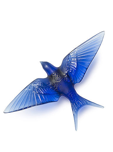 Lalique Crystal Hirondelles, Swallows with Wings Down Wall Sculpture, Sapphire Blue
