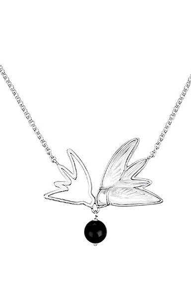 Lalique Crystal Hirondelles Sterling Necklace with two Swallows, Clear Crystal with Onyx Bead