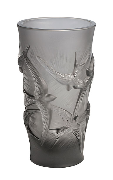 Lalique Hirondelles, Swallows Small Vase, Grey