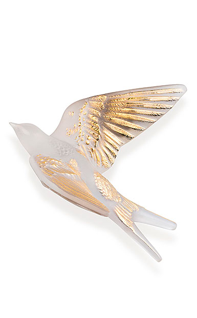 Lalique Hirondelle, Swallow Sculpture, Wings Up, Clear And Gold