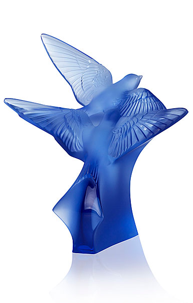 Lalique Two Hirondelles, Swallows Small Sculpture, Sapphire Blue