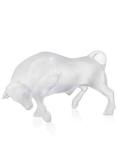 "Lalique Taureau, Bull 10"" Sculpture, Clear"