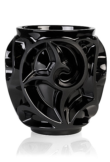 Lalique Tourbillons Small Vase, Noir Black