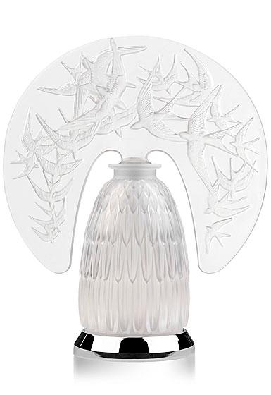 Lalique Hirondelles, Swallows Lamp, Clear, Chrome
