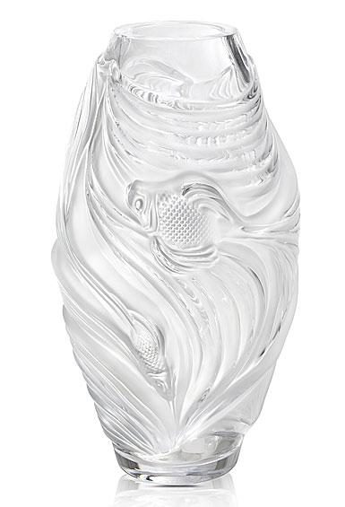 "Lalique Poissons Combattants Aquatique 12"" Vase, Clear"