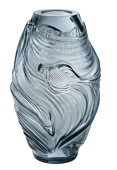 "Lalique Poissons Combattants Aquatique 12.5"" Vase, Persepolis Blue"
