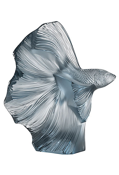 Lalique Fighting Fish Sculpture Aquatique, Persepolis Blue