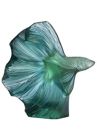 Lalique Fighting Fish Sculpture Aquatique, Mint Green and Blue Patinated