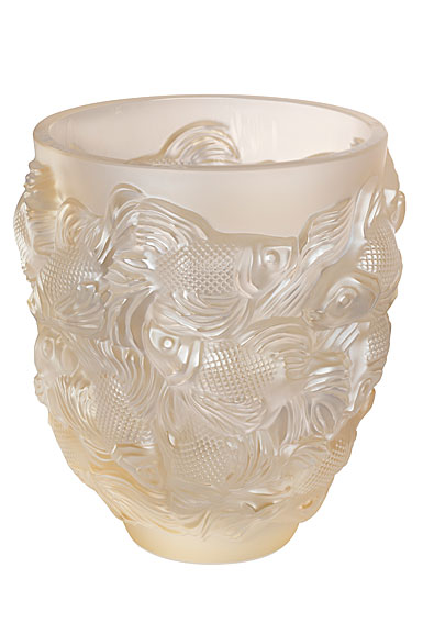 "Lalique Rosetail 9"" Vase, Gold Luster"